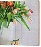 Spring Tulips On An Old Bench Wood Print