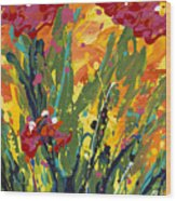 Spring Tulips Triptych Panel 1 Wood Print