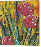 Spring Tulips Triptych Panel 2 Wood Print