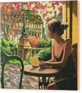 Spring, View From A Cafe Window In Paris Wood Print
