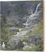 Spring Waterfall In The Tetons Wood Print