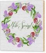 Spring Wreath Wood Print