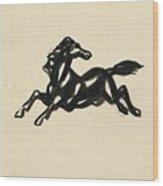 Springend Paard Met Het Hoofd Naar Achteren Gedraaid Wood Print