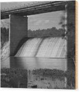 Springfield Lake Dam Grayscale Wood Print