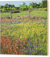 Spring's Floral Quilt Wood Print