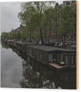 Springtime Amsterdam - Boathouses And Miniature Gardens Wood Print