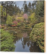 Springtime At Portland Japanese Garden Wood Print