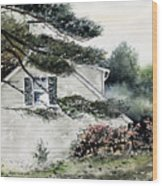 Springtime At Round Pond Maine Wood Print