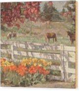 Springtime Horses Wood Print