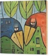 Springtime Lovebirds Wood Print
