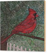 Springtime Red Cardinal Wood Print