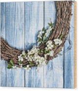 Springtime Wreath Wood Print