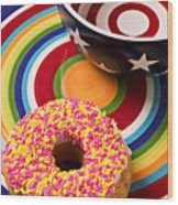 Sprinkled Donut On Circle Plate With Bowl Wood Print