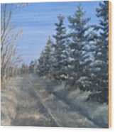 Spruce Trees Along A Snowy Road  Wood Print