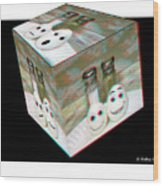 Square Meal - Use Red-cyan 3d Glasses Wood Print