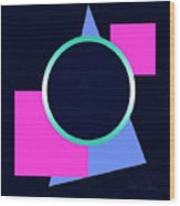 Squares And Triangle Subsumed By Circle Wood Print