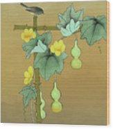 Squash Vine And Bamboo Wood Print