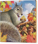 Squirrel Treasure Wood Print