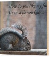 Squirrel With Fur Collar Wood Print