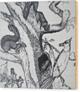 Squirrels And Bird Wood Print