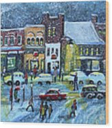 Snowing In Concord Center Wood Print