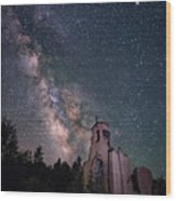 St. Aloysius Church Ruin Under The Stars Wood Print