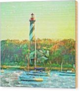 St Augustine Lighthouse Waterscaped Wood Print