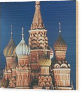 St Basil's By Night Wood Print