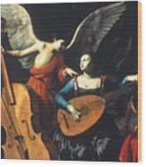 St. Cecilia And The Angel Wood Print