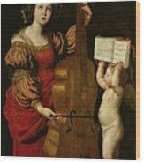 St. Cecilia With An Angel Holding A Musical Score Wood Print by Domenichino