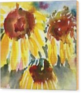 St. Charmand Sunflowers Wood Print