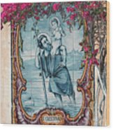 St Christovao -st Christopher Wood Print