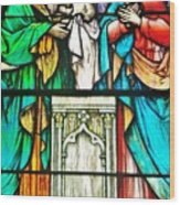 St. Edmond's Church Stained Glass Window - Rehoboth Beach Delaware Wood Print