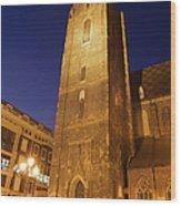 St. Elizabeth's Church Tower At Night In Wroclaw Wood Print