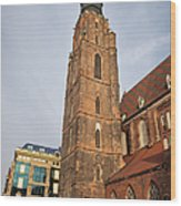 St. Elizabeth's Church Tower In Wroclaw Wood Print