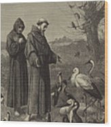 St Francis Preaches To The Birds  Wood Print