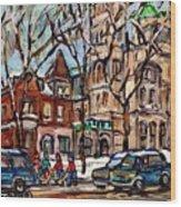 St Gabriel's Rectory  St Charles Church Rue Centre Pointe St Charles  Original Oil Painting Cspandau Wood Print