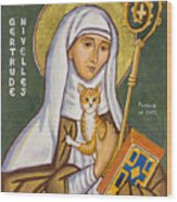 St. Gertrude of Nivelles Icon Wood Print