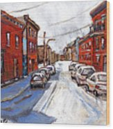 St Henri Depanneur Canadian Paintings Mini Montreal Masterpieces For Sale Petits Formats A Vendre  Wood Print