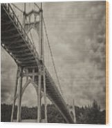 St. Johns Bridge In Black And White Wood Print