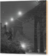 St. Johns Bridge On Snowy Evening Wood Print by Zeb Andrews