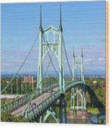 St Johns Bridge Over Willamette River Wood Print