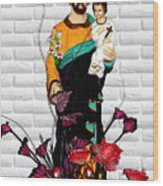 St Joseph Holding Baby Jesus - Catholic Church Qibao China Wood Print