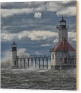 Big Waves - St. Joseph Lighthouse Wood Print