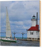 St. Joseph Lighthouse Sailboat Wood Print