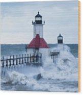 St. Joseph Lighthouse With Waves Wood Print