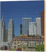St Lawrence Market And Gooderham Flatiron Building With Cn Tower Wood Print
