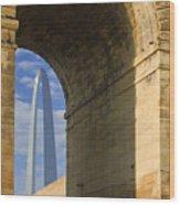 St Louis Arch And Eads Bridge   Wood Print