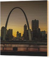 St Louis Arch At Sunset Wood Print