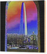 St Louis Arch Rainbow Aura  Wood Print